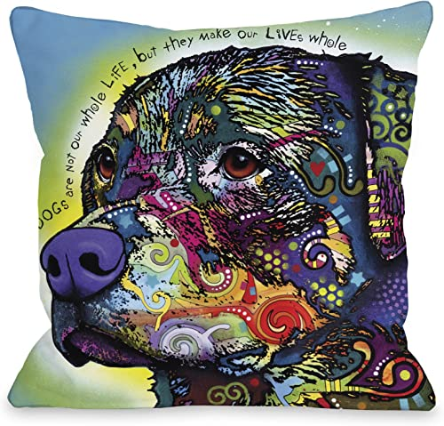 One Bella Casa The Rottweiler with Text Throw Pillow by Dean Russo, 18 x 18 , Multi
