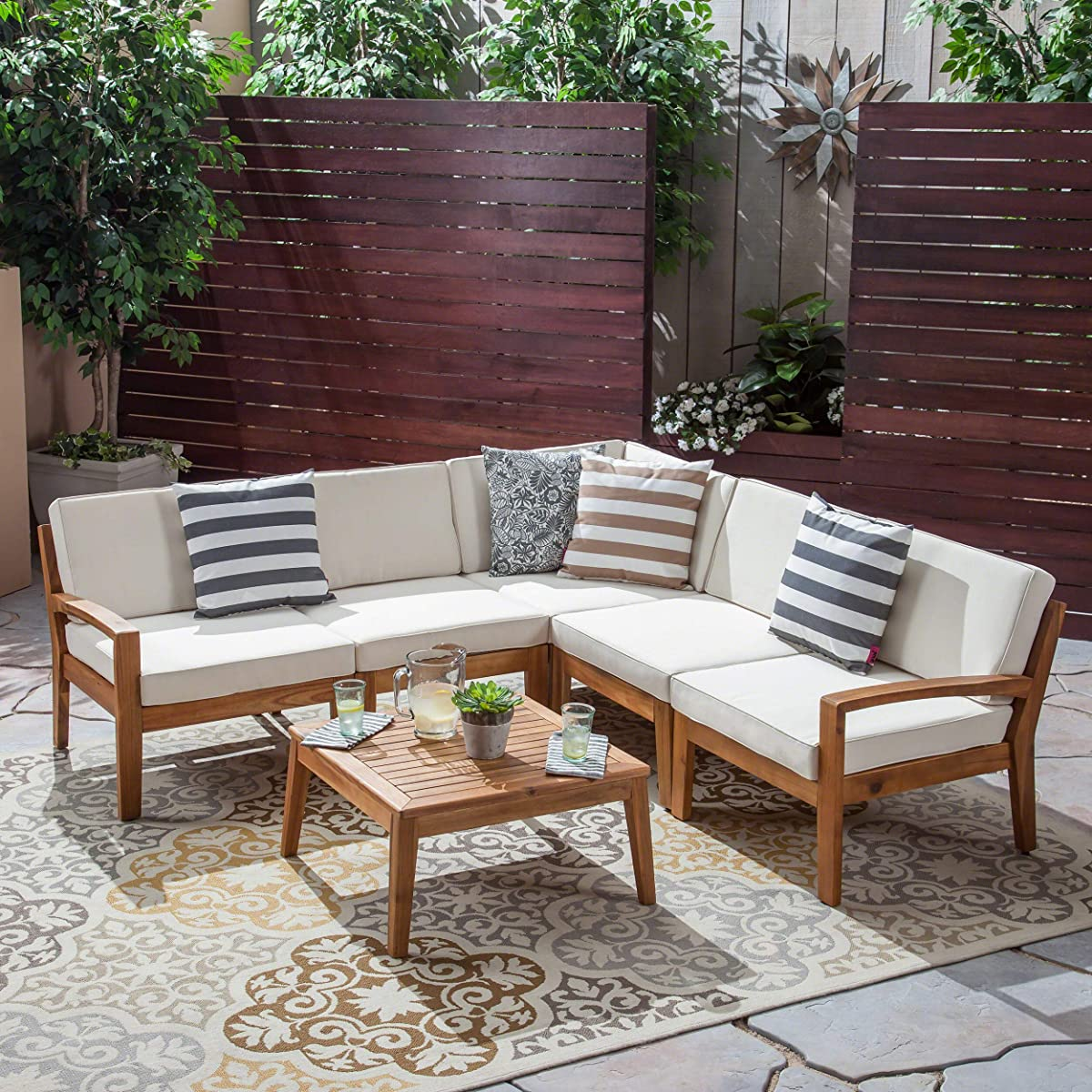 Great Deal Furniture Roy Sectional Sofa Set for Patio | Acacia Wood with Cushions | 5-Piece Sectional with Coffee Table | Teak and Beige