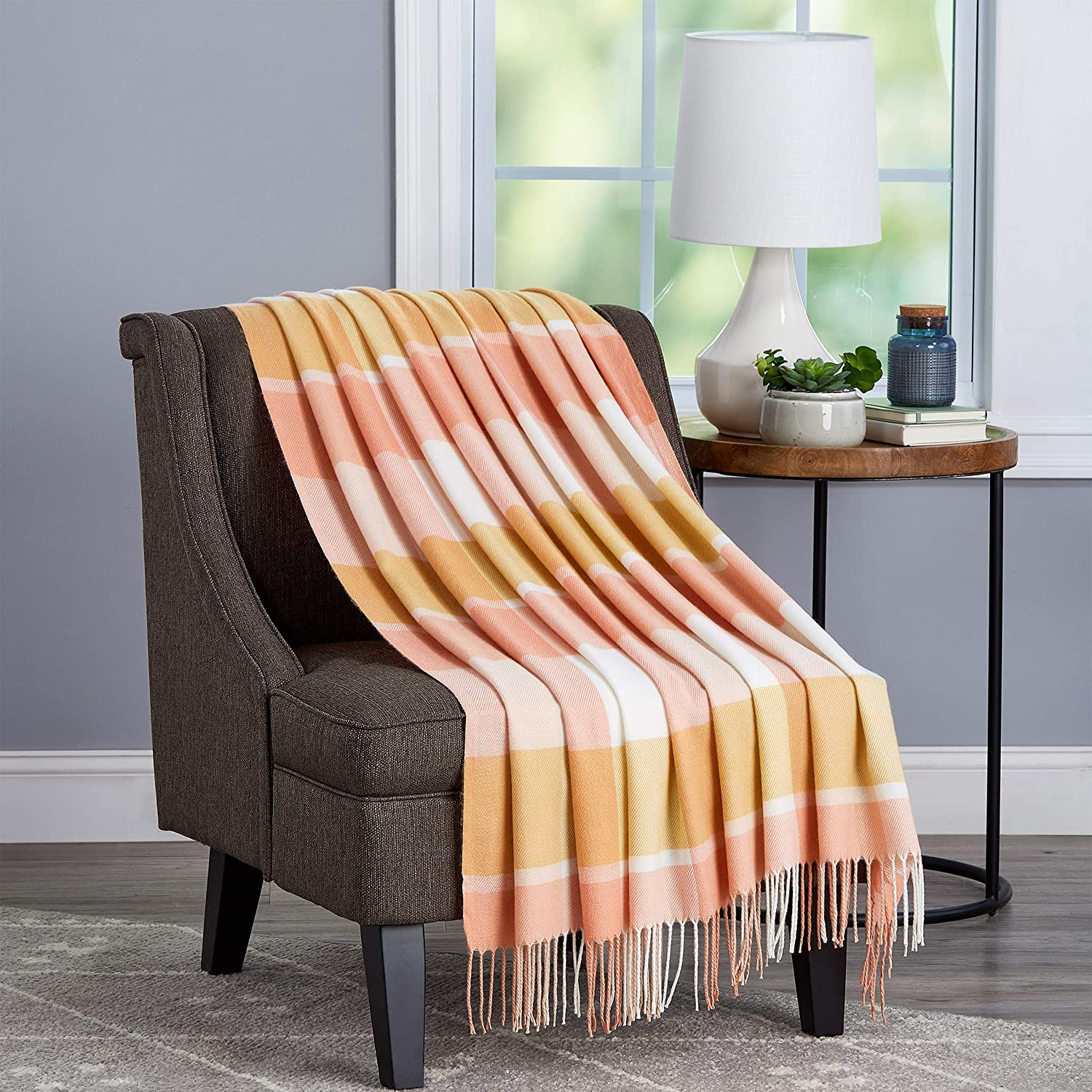 Lavish Home Collection Soft Blanket-Oversized, Luxuriously Fluffy, Vintage Look and Cashmere-Like Woven Acrylic - Stylish Throws, Desert Blush Plaid