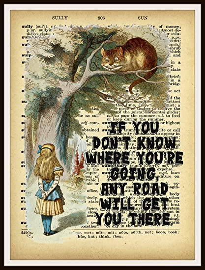 ART PRINT ON ORIGINAL ANTIQUE BOOK PAGE Alice in Wonderland Cheshire Cat Poster