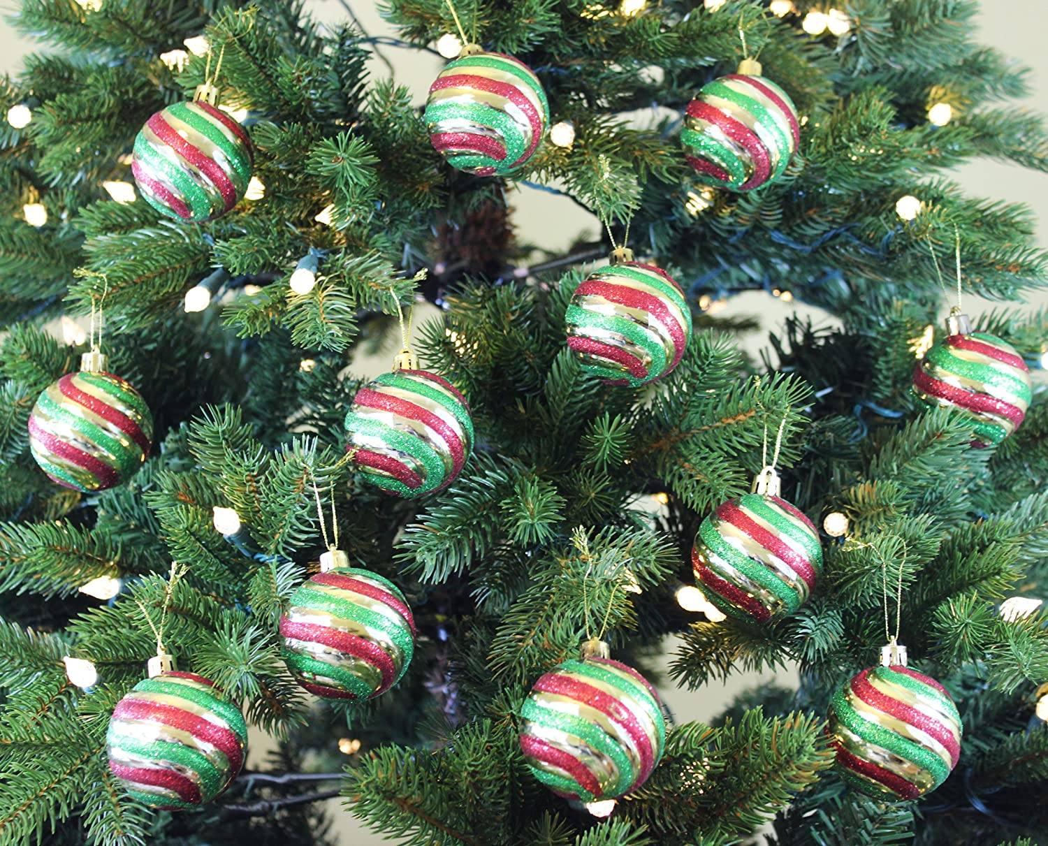 Amazon.com: Festive Season Vintage Style Christmas Tree Ornament Balls (Set  Of 12, 60mm): Home U0026 Kitchen