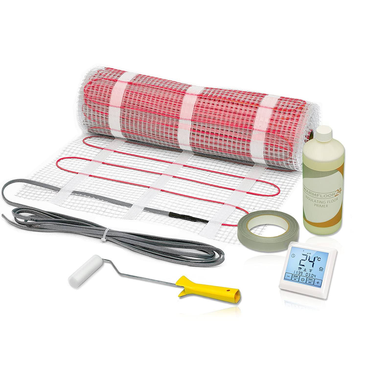 Electric Underfloor Heating Mat Kit for Tiles 150 W/m² • with Touch Screen Thermostat • ALL SIZES • 1.6 m² Warm-On