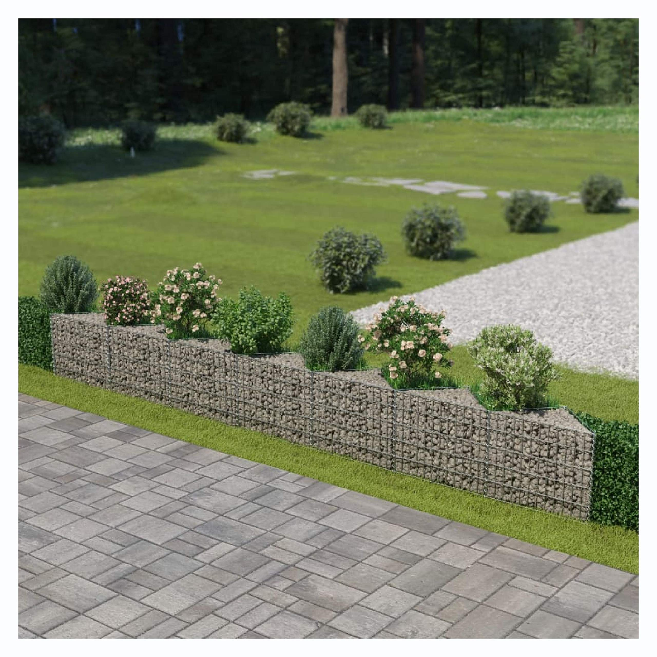 HomyDelight Fence Panel, Gabion Wall Galvanized Steel 177.2''x11.8''x19.7'' by HomyDelight