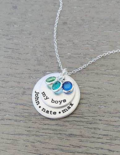 8e3321f442c74 My Boys Necklace // Personalized Necklace with Kids Names and Birthstones  // Hand Stamped Jewelry // Custom Necklace for Mom of Boys