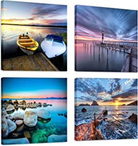 FUNHUA Sea Rocks and Seaside Ferries Art Prints Framed Seaside Landscape Canvas Painting Boat Sunset Wall Art for Bathroom Entryway Office Home Decorations 12x12inchx4pcs