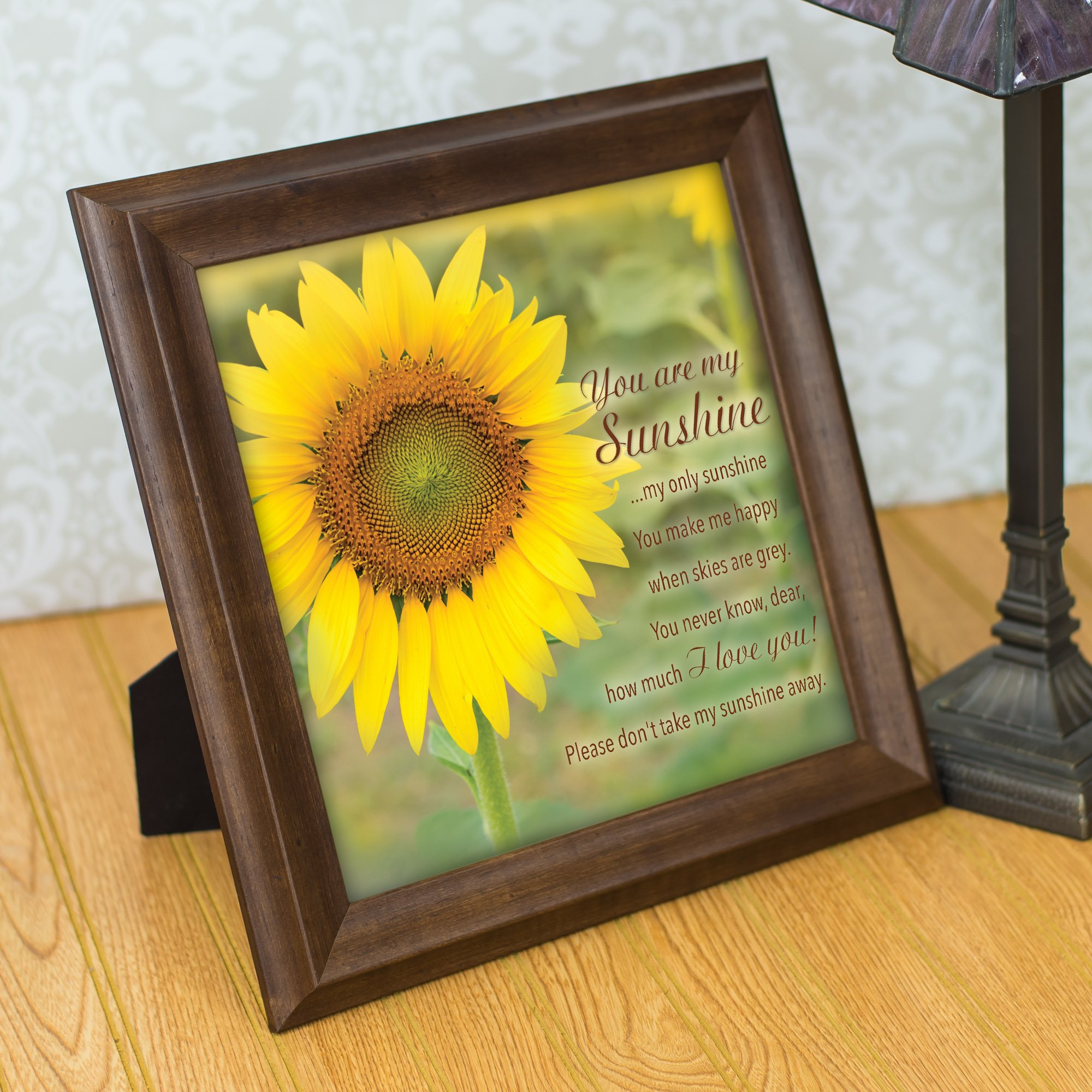 You Are My Sunshine Yellow Sunflower 12 x 12 Woodgrain Framed Wall ...