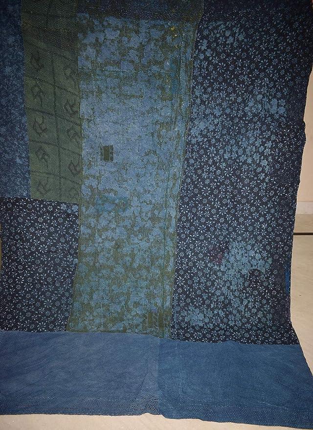 Amazon.com: Tribal Asian Textiles India Vintage Cotton Gudri Kantha Quilt Throw Bedspread Handblock Print Blanket: Home & Kitchen