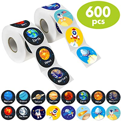 """Hebayy 600 PCs Solar System Stickers in Rolls with Perforation Line. Perfect for Toddlers and Kids. 1.5"""" (Expanded Edition with Astronauts, Comet, The Moon and Satellites): Toys & Games"""