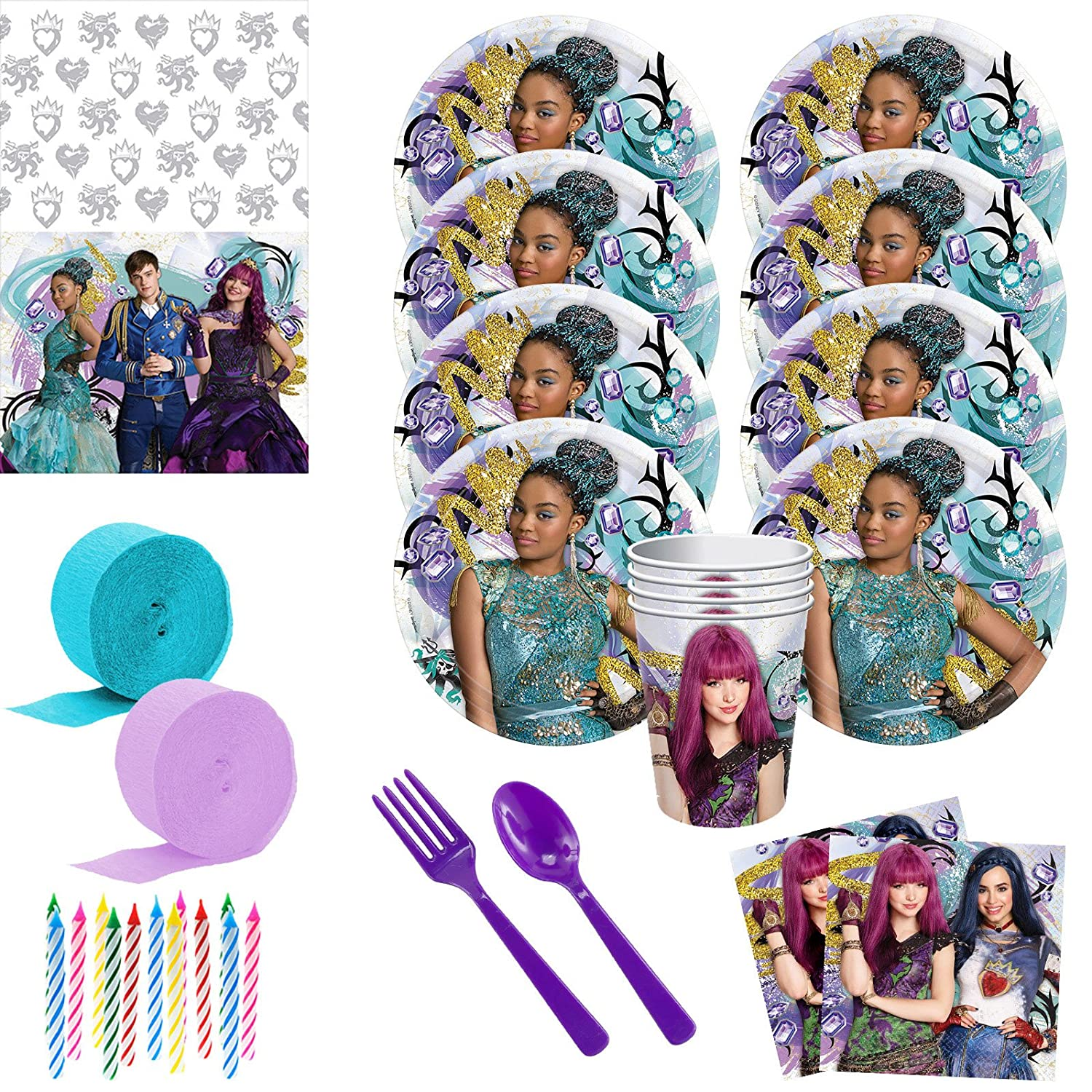 Disney Descendants Deluxe Birthday Party Supply Kit - (Serves 8)