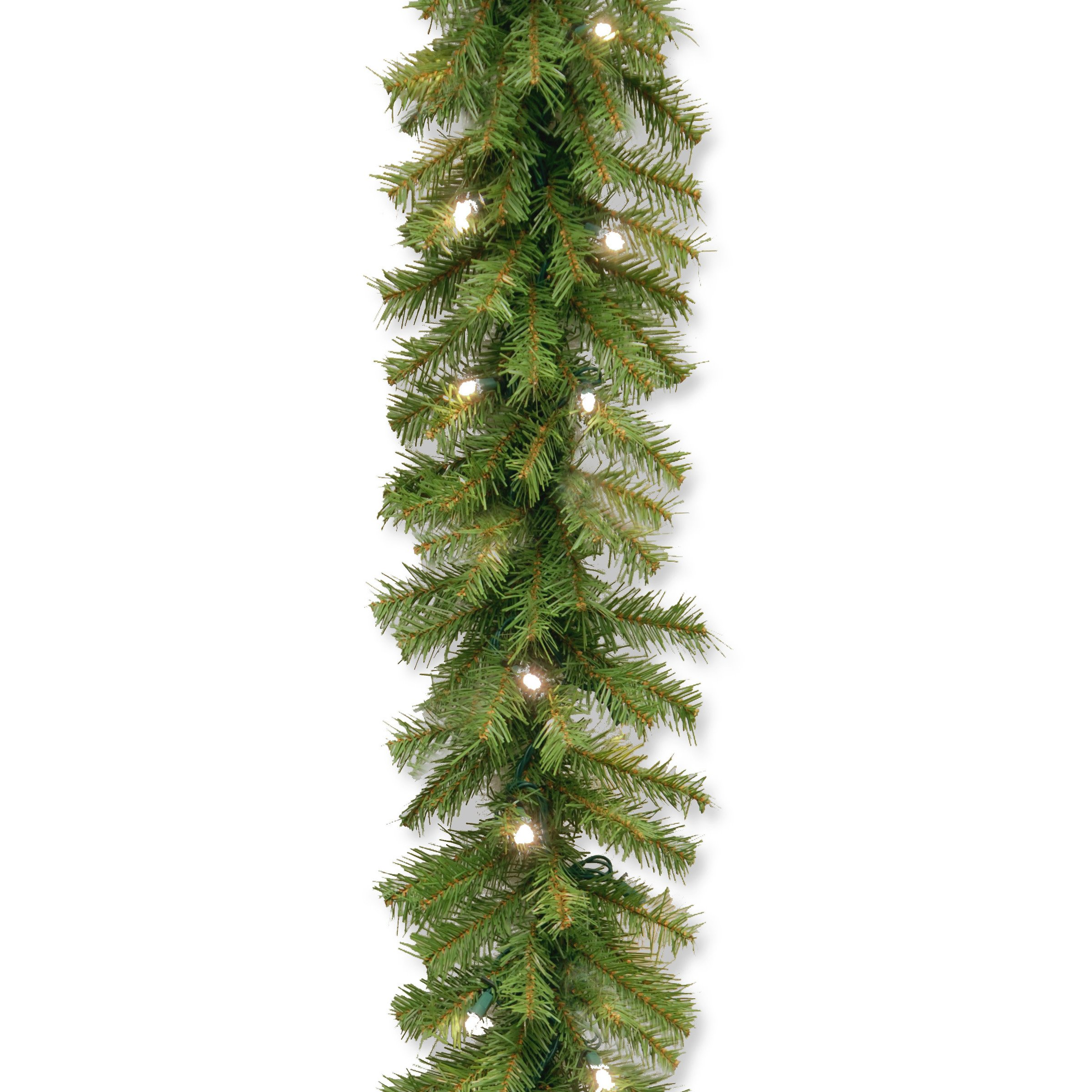 National Tree 9 Foot by 10 Inch Norwood Fir Garland with 50 Battery Operated Warm White LED Lights (NF3-308-9A-B)