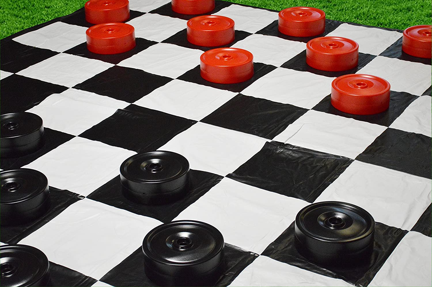 Red and Black 10x10 Mat Garden Games Giant Checkers