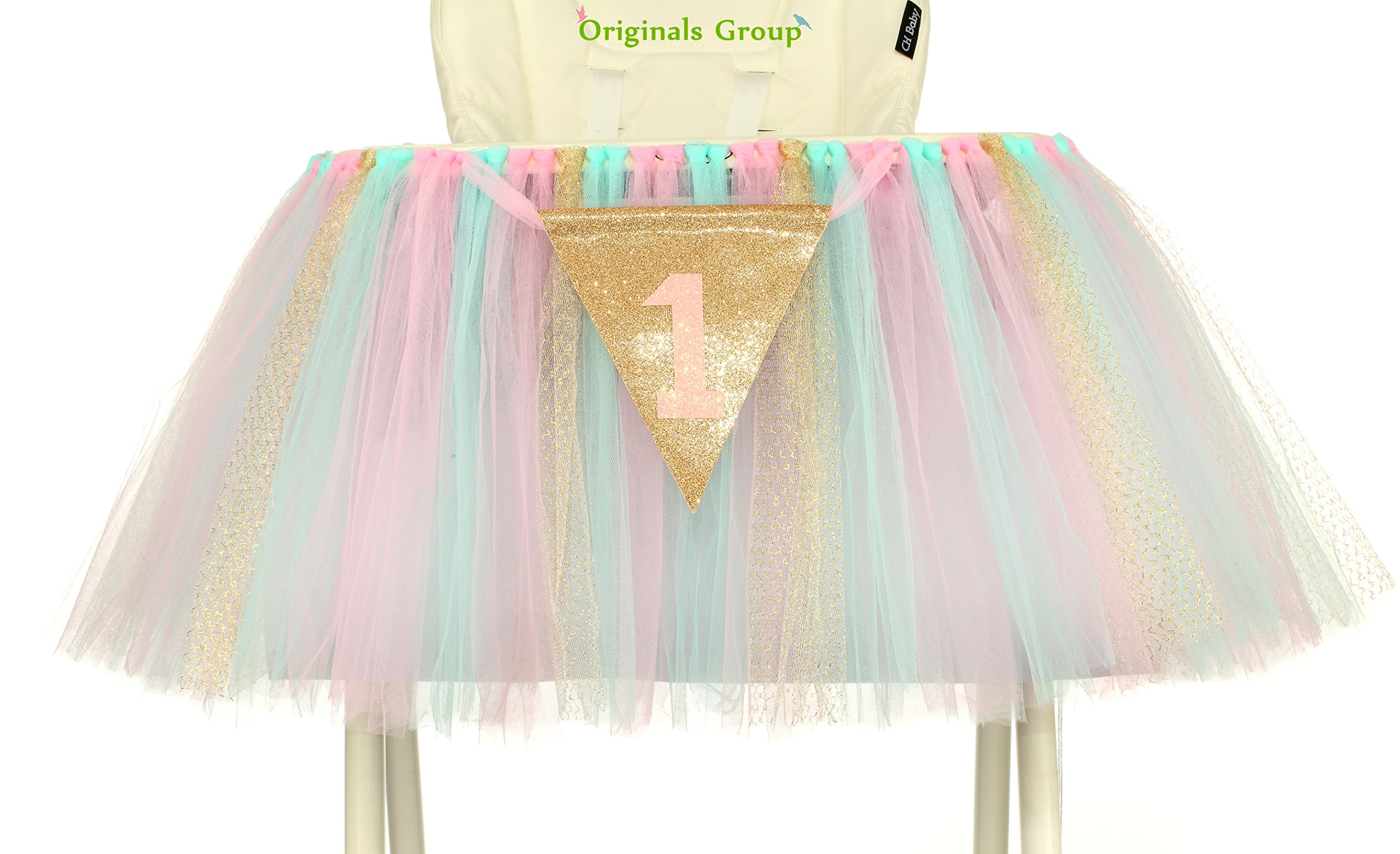 Originals Group 1st Birthday Originals Group 1st Birthday Frozen Tutu for High Chair Decoration for Party SuppliesTutu for High Chair Decoration for Party Supplies (Mint+Pink+Gold) by Originals Group