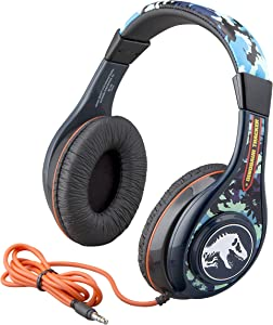 Jurassic World 2 Kids Headphones, Adjustable Headband, Stereo Sound, 3.5Mm Jack, Wired Headphones for Kids, Tangle-Free, Volume Control, Childrens Headphones Over Ear for School Home, Travel