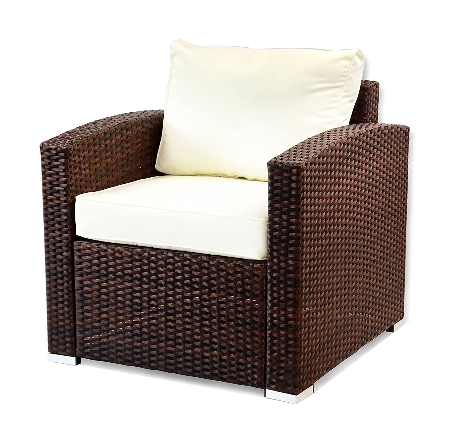 Patio Resin Outdoor Garden Deck Yard Wicker Lounge Chair w cushion. Dark Brown Color
