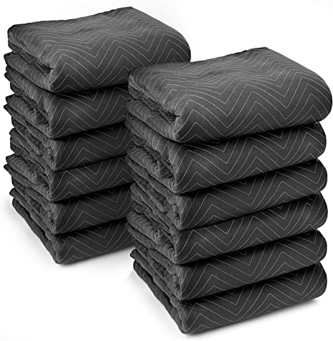 TUSY Packing Blankets 65lb 72 x 80 Inches Pro Moving Blankets Pack of 12 Ultra Thick Professional Quality Moving Skins