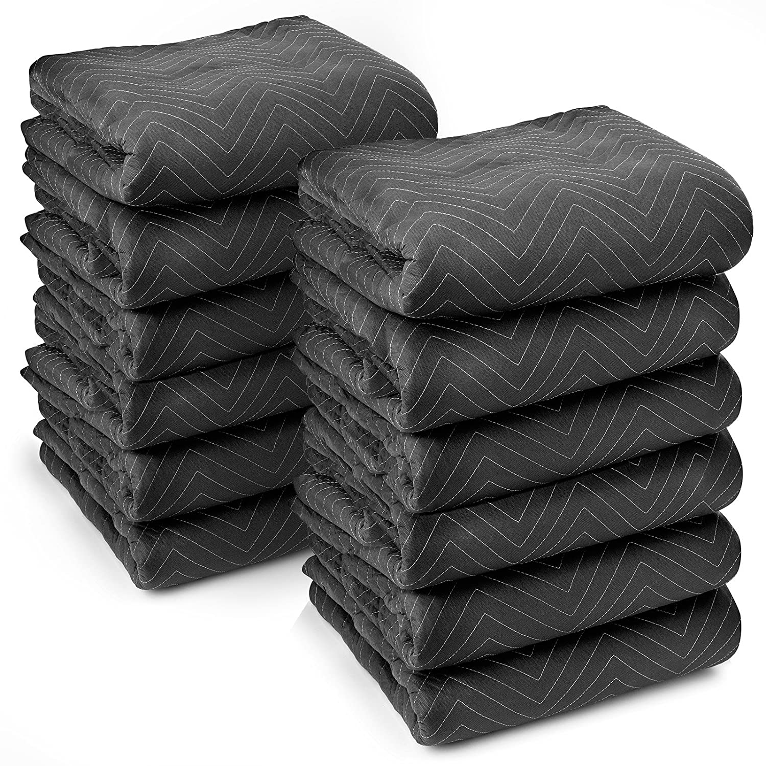 "Sure-Max 12 Heavy-Duty Moving & Packing Blankets - Ultra Thick Pro - 80"" x 72"" (65 lb/dz Weight) - Professional Quilted Shipping Furniture Pads Black"