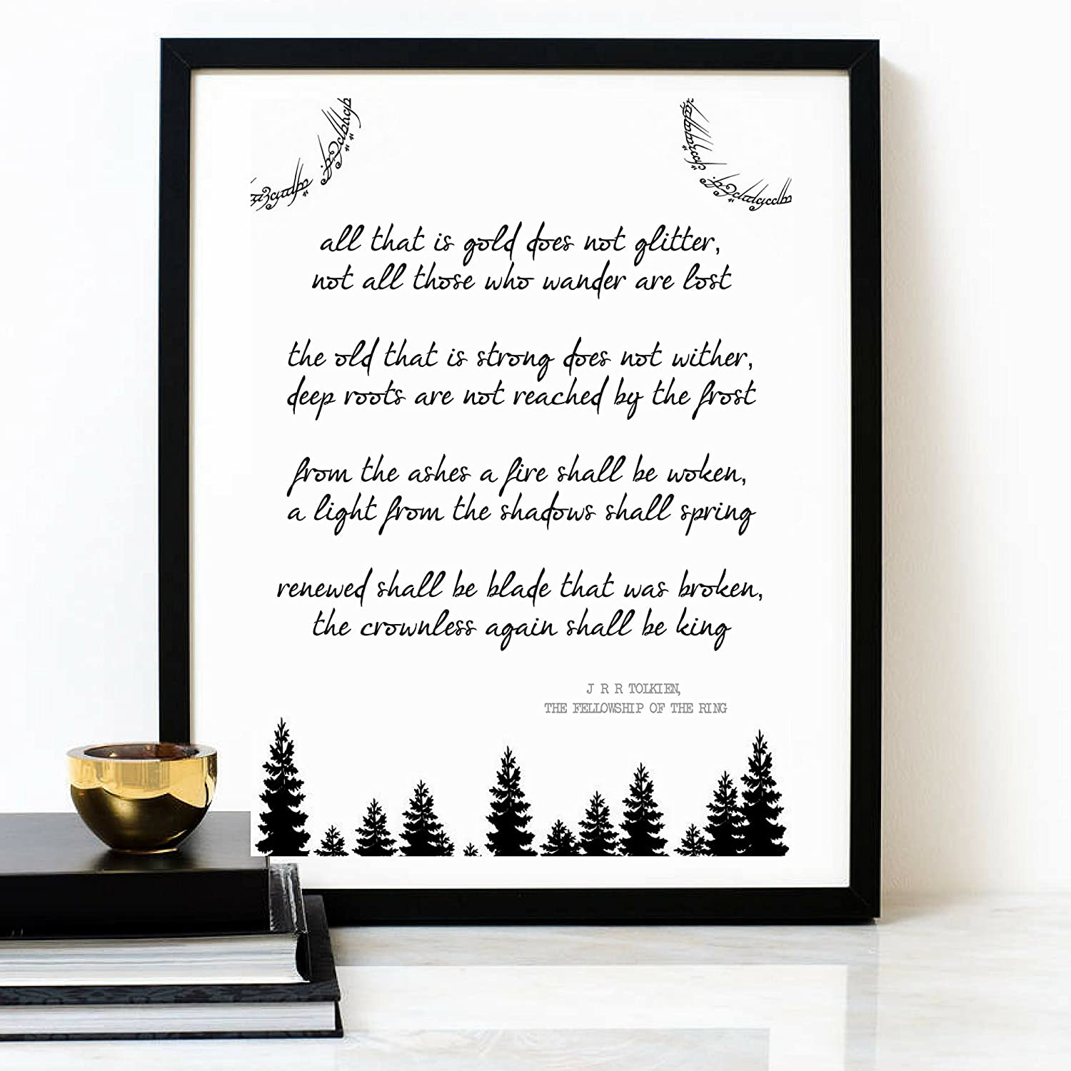 JRR TOLKIEN Poem - All That Is Gold Does Not Glitter Fellowship Of The Ring - Poetry Quote Print – Inspirational Quote - Typography Poster – Minimalist Wall Art