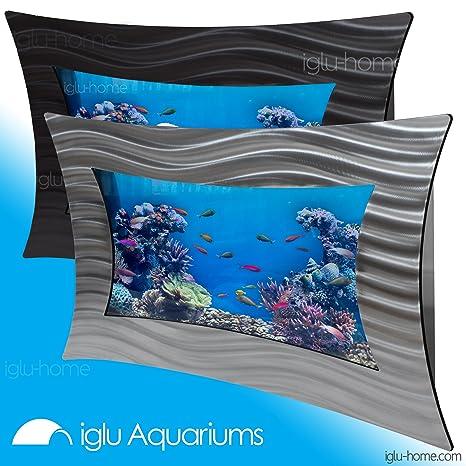 Iglu acuarios grande Cóncavo montado en la pared tanque de peces de cristal – plata negro