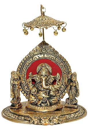 Nexplora Industries Riddhi Siddhi Chhatra Ganesh Showpiece Metal Statue