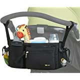 Stroller Organizer Bag - Universal Fit, Cup Holders, Adjustable Compartments, Removable Pouch/Wristlet