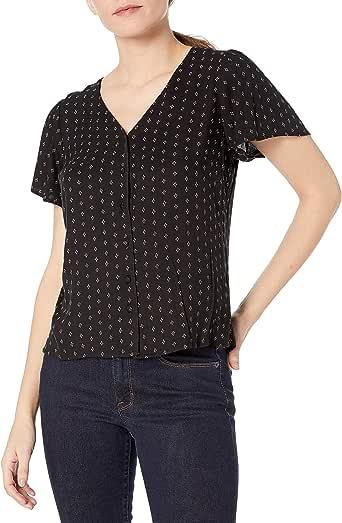 Goodthreads Amazon Brand Women's Fluid Twill Covered-Button Short-Sleeve Shirt