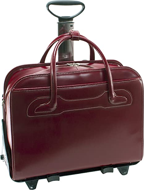 McKlein Roseville/15.6 Leather Fly-Through Detachable-Wheeled Ladies Briefcase 46 cm Red