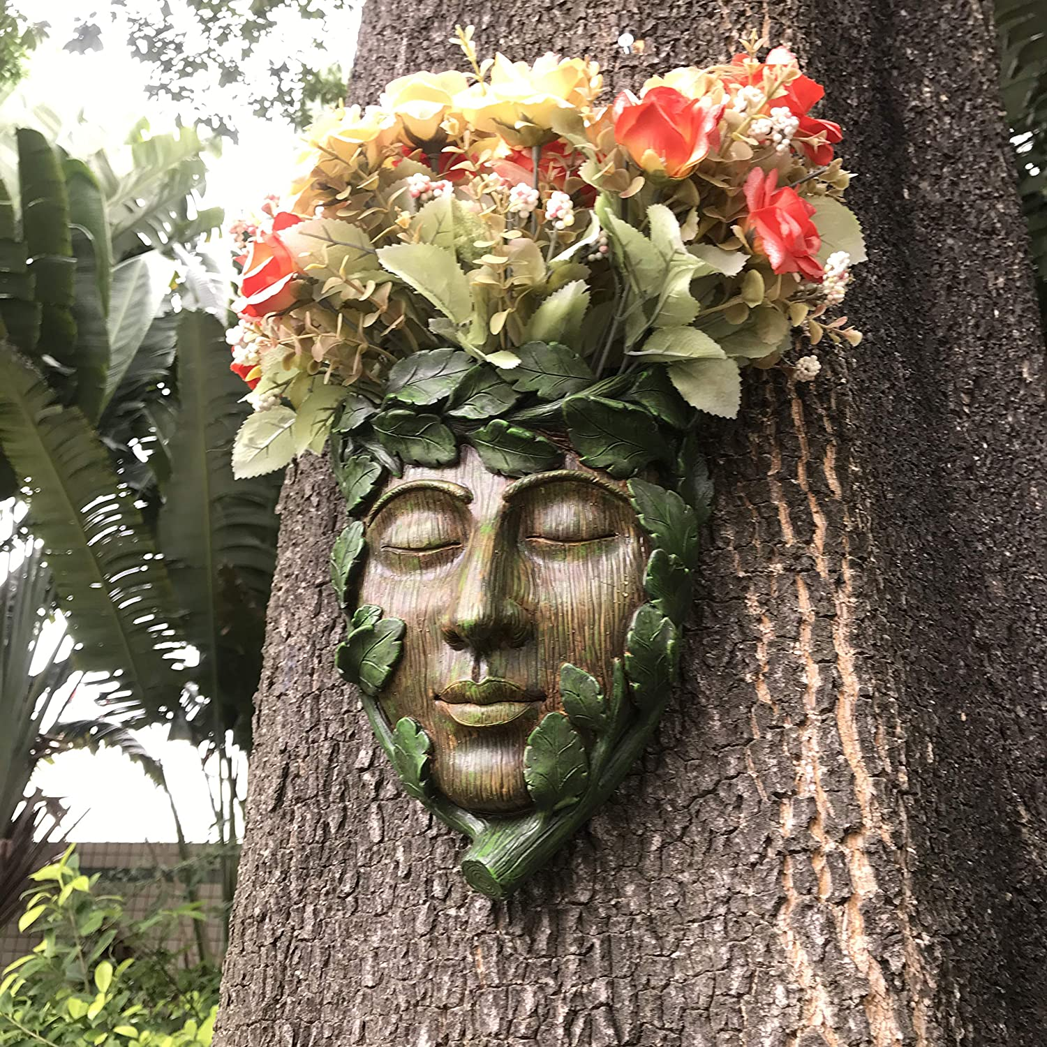 MARYTUMM Young Man Tree Face Decor Sculpture Flower Planter Pot by Waterproof Resin, Face on The Tree for Garden Decor, Tree Decor Outdoor