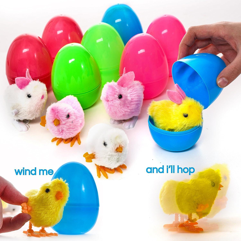 PREXTEX Huevos de Pascua de Juguete Grandes Rellenos de Conejos y Pollitos de Cuerda