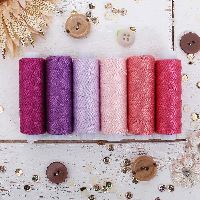 75yd Spools Size 8 Cross Stitch Threadart 6 Color Pearl Cotton Thread Set Sunrise Shades Needlepoint Perle Cotton for Friendship Bracelets 6 Sunrise Shades Crochet Hand Embroidery