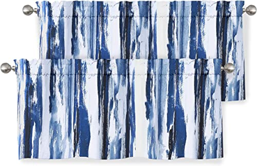 DriftAway Paint Brush Watercolor Ink Stripe Pattern Thermal Insulated Blackout Window Curtain Valance Rod Pocket 2 Layers 52 Inch by 18 Inch Plus 2 Inch Header Navy Blue 2 Pack