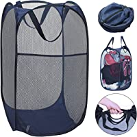 YESURPRISE Pop-Up Laundry Hamper Mesh Clothes Basket Laundry Bag with Side Pocket & Handles Home Organize and Storage Sorter