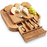 VonShef Square Slide Out Bamboo Cheese Board and 4 Piece Knife Set, 13 x 13 inches