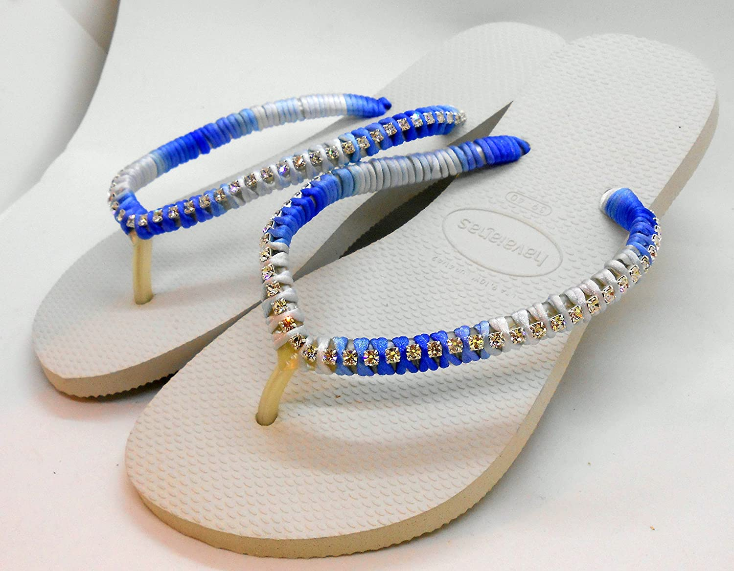 b327bbba8 My unique Design Black White Women s Havaianas Sandals Flat Shoes Beach  Flip Flops Wedding Flip Flops Bridal Flat Shoes Multi Blue color Cord and  Clear ...