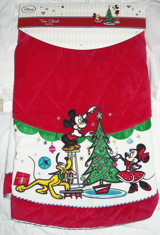 Disney Store árbol de Navidad falda Minnie Mickey Mouse Pluto Rojo ...