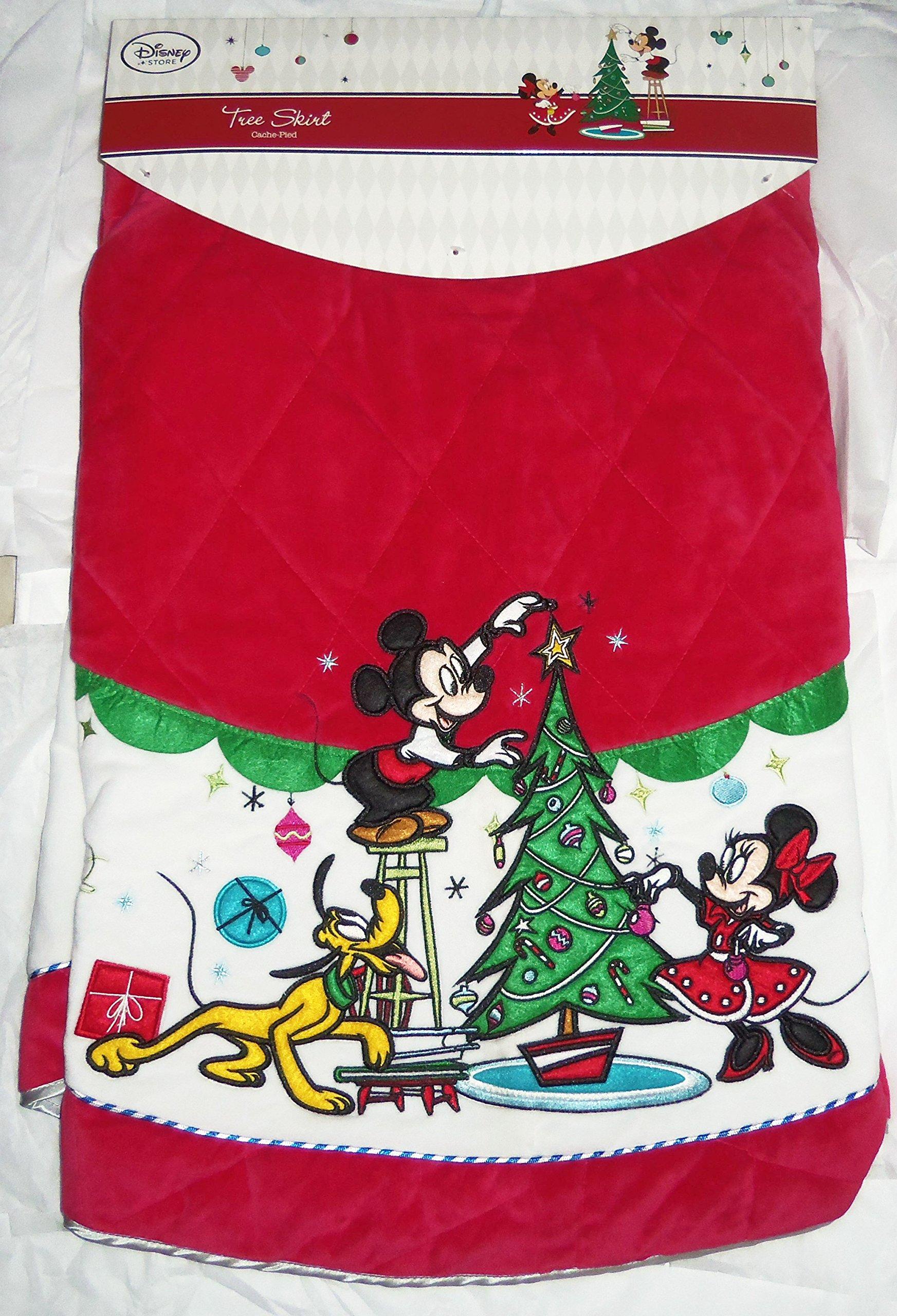 Disney Store Christmas Tree Skirt Minnie Mickey Mouse Pluto Red