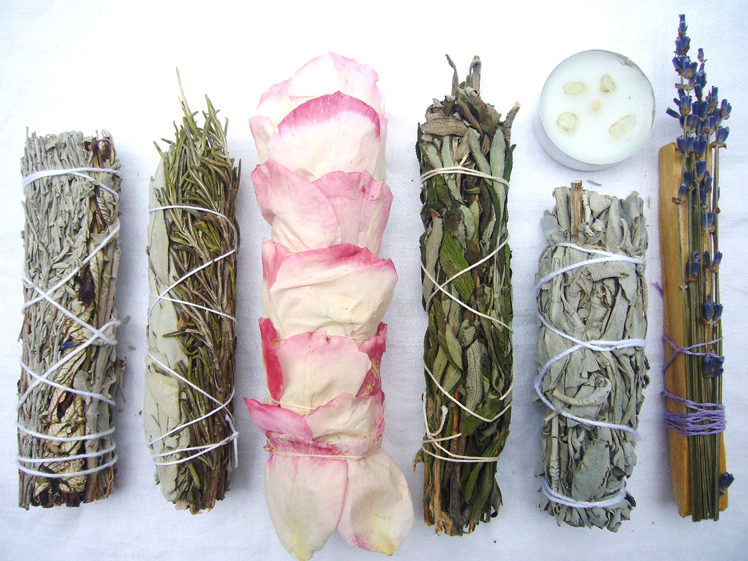 L'AMOUR yes! Luxury Smudge Kit | Rose White Sage, Rosemary, Lavender Smudge Stick, Yerba Santa & Blue Sage, White Sage, Palo Santo, Crystal Candle | Home Cleansing, Blessing, Manifesting, Rituals by L'AMOUR yes! (Image #1)