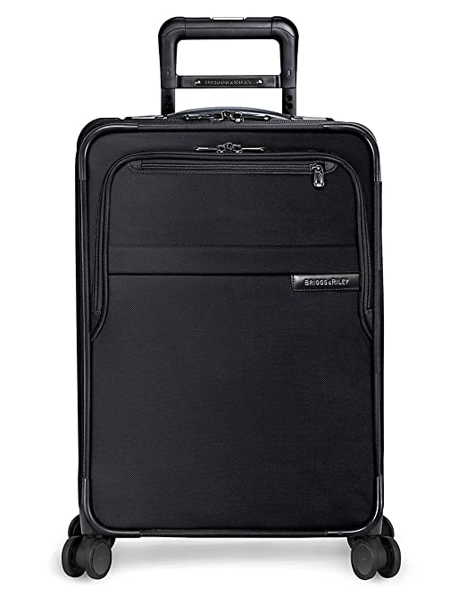Briggs & Riley Baseline 22 inch Softside Carry On Luggage with Spinner Wheels 22 x 14 x 9. Expandable Suitcase with Compression Packing System, Black