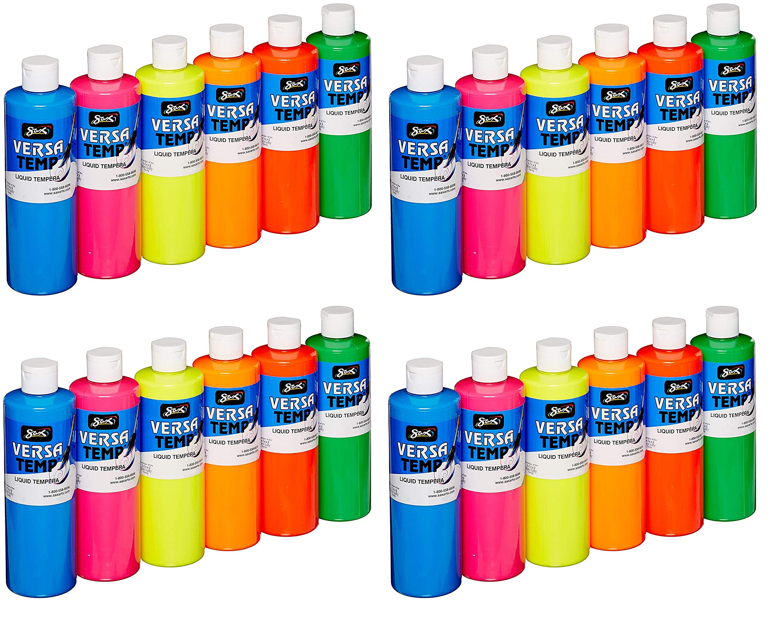 Sax Versatemp Heavy-Body Tempera Paints, Assorted Fluorescent Colors, (Pack of 4)