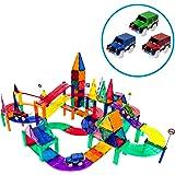 PicassoTiles 128 Piece Race Car Track Building Block Educational Toy Set Magnetic Tiles Magnet Playset 3 LED Car STEM…