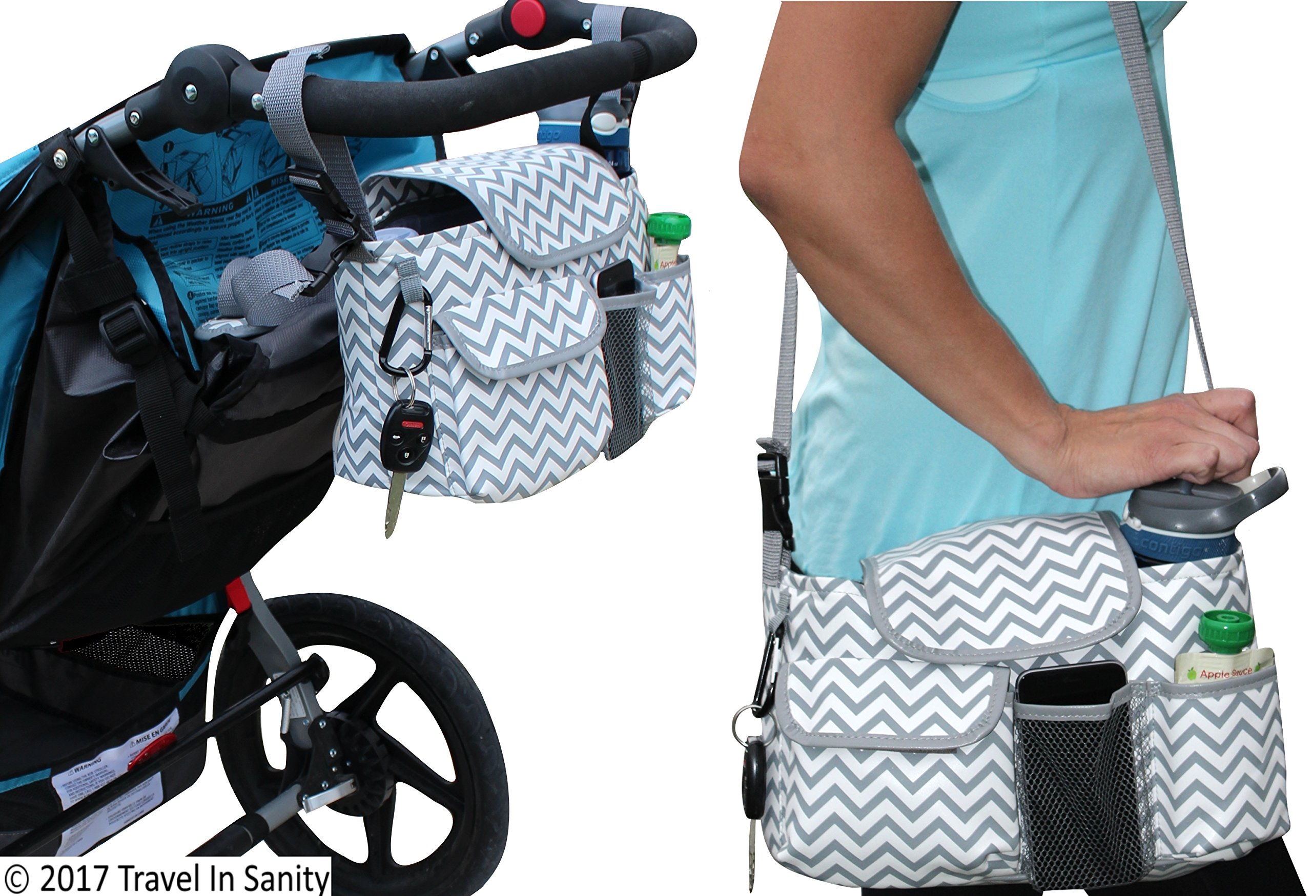 Universal Stroller Organizer with Cup Holders | Mini Diaper Bag | Easily Store Wallets, Keys, Bottles, Diapers, Wipes & Toys. | Premium Chevron Stroller Caddy by Travel in Sanity by Travel in Sanity (Image #4)