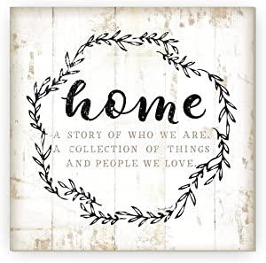 Home A Story of Who We are Rustic Framed Wood Farmhouse Wall Sign 12x12 (Unframed)