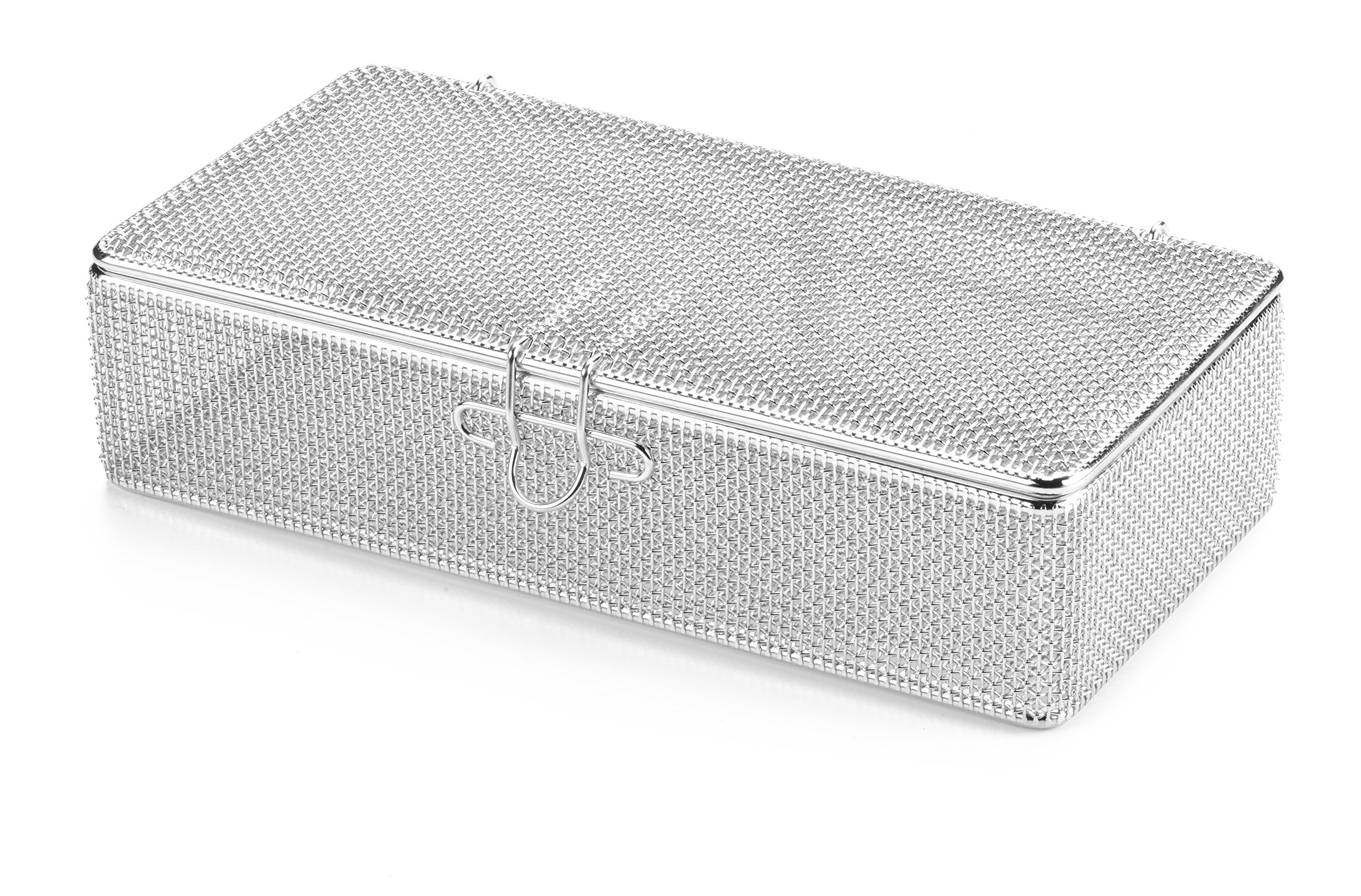 Key Surgical MT-7100 Micro Mesh Tray with Lid, Stainless Steel, 225 mm x 110 mm x 50 mm