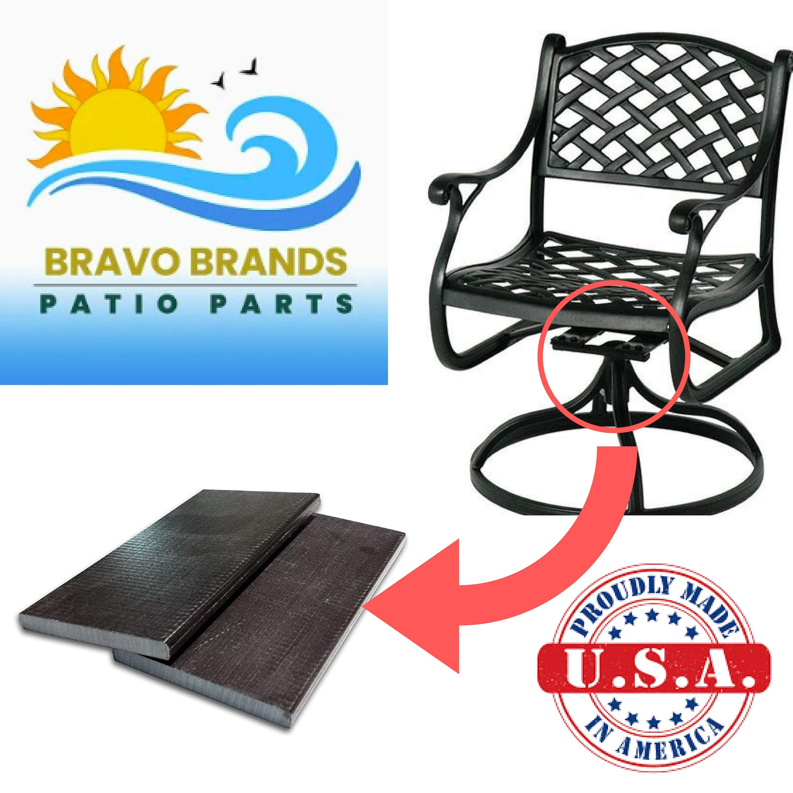 Bravo Brands Fiberglass Spring Plates 3'' x 5'' Rocking Chair Repair Parts for Patio Furniture Swivel Rocker Replacement Kit (Multiple Sizes)