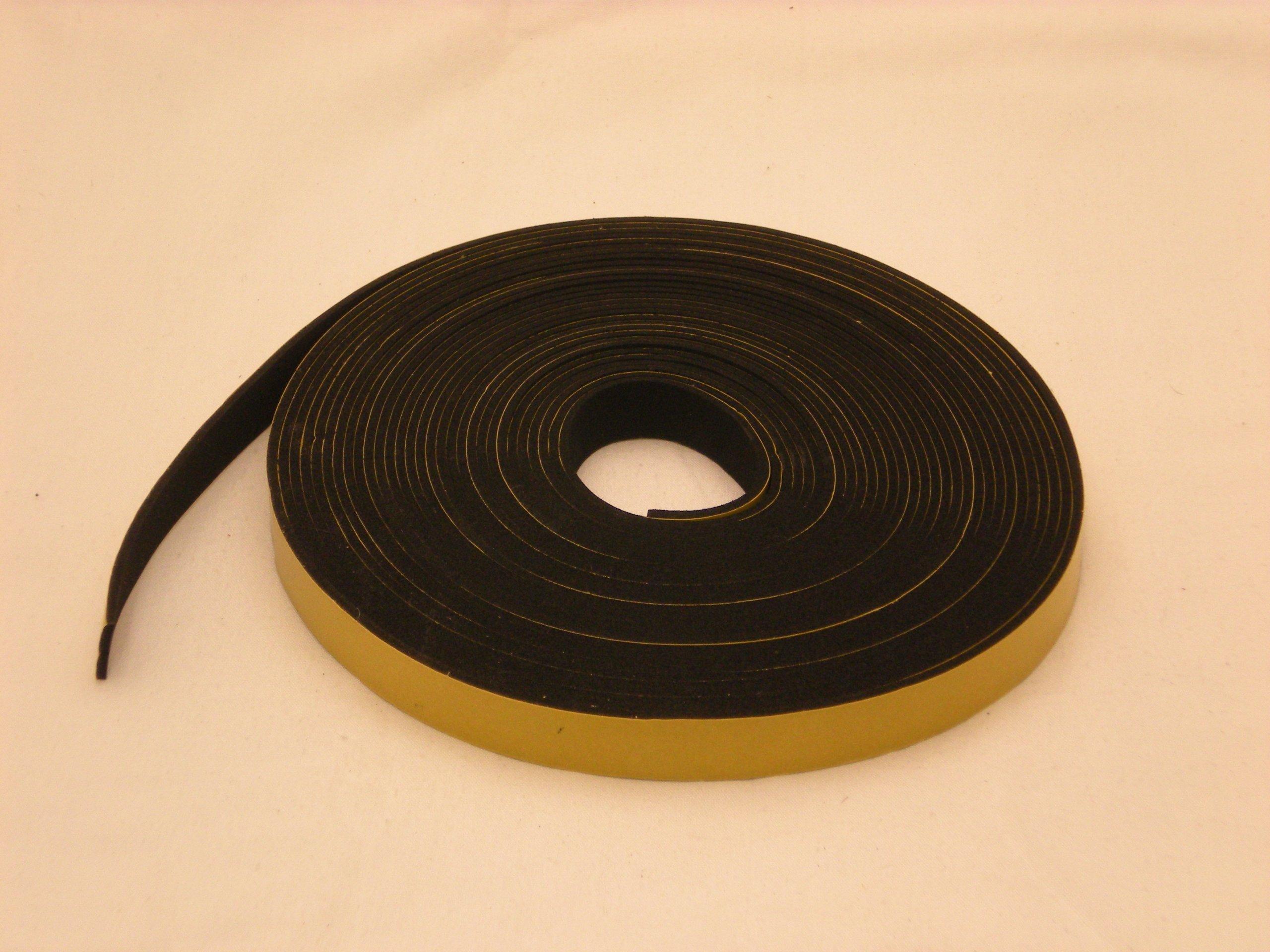 Neoprene Rubber Black Self-Adhesive Sponge Strip 2 Wide x 5//64 Thick x 16 feet Long