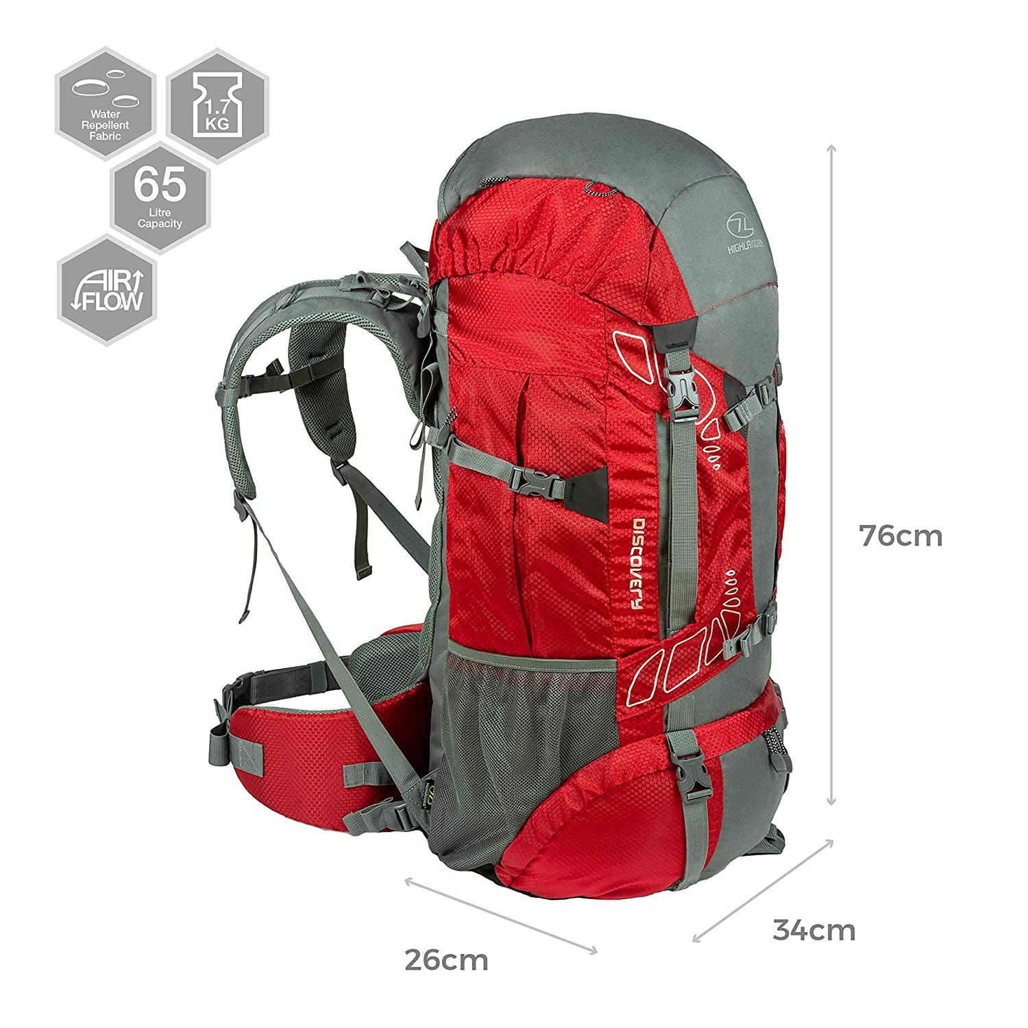 Camping and D of E Travelling Ideal for Walking Highlander 45L Discovery Rucksack Lightweight Hiking Backpack with Waterproof Cover Trekking