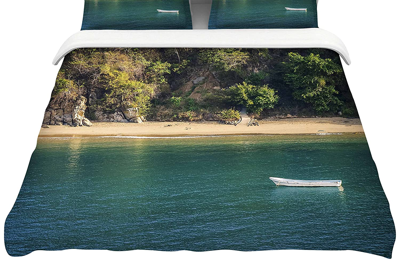 Kess InHouse Nick Nareshni Boat On The Ocean Blue Cotton King Duvet Cover 104 x 88