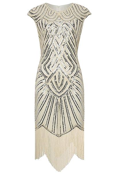 115daddb04cf Babeyond Vestito Gatsby Donne 1920s Vestito Abito Anni 20 Donna Flapper  Dress 1920s Vestito da Sera Paillette Impreziosito Frange Gatsby Dress  Senza ...