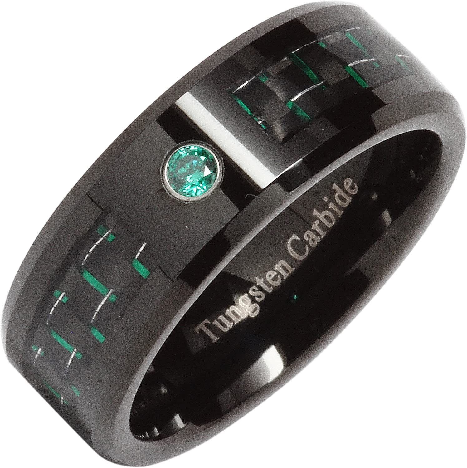 100S JEWELRY 8mm Tungsten Ring Green Cz Carbon Fiber Inlay Mens Wedding Band Size 8-14