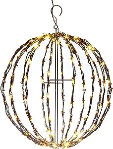 "Elf Logic - 16"" Outdoor LED Elf Logic Light Ball Hanging Tree Globe Light - Outdoor Holiday Light Ball Decor(16"" Ball Plug in with Timer)"