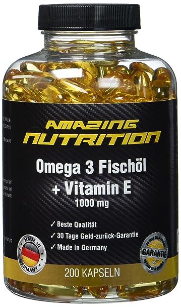 Omega 3 Fischöl 1000mg + Vitamine E - Essentiell Für Den Menschlichen Körper Und Gut Für Das Herz-Kreislauf-System - 200 Kaps